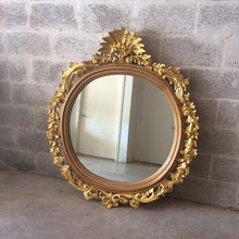 "Load image into Gallery viewer, French Round Shape Mirror *1 Available* 50""H x 43.5""W French Furniture Rococo Baroque Wall Mirror Gold Mirror Heavy Carved"