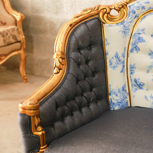 Antique Furniture French Bergere Throne Chair French Furniture Kukula Limoges Indigo Fabric Designer ReUpholster Rococo Furniture Baroque