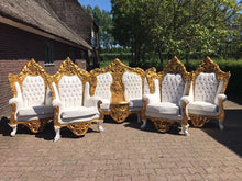 Load image into Gallery viewer, Rococo Throne Chair Antique Furniture White Leather Tufted Chair *3 Piece Set Avail* Gold Leaf French Chair Louis XVI French Furniture