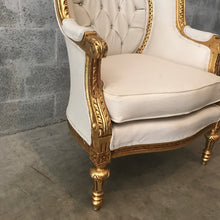 Load image into Gallery viewer, French White Tufted Chair *1 Left* Antique Furniture French Louis XVI Chair Corbeille Rococo Furniture Baroque Chair Tufted White Leather