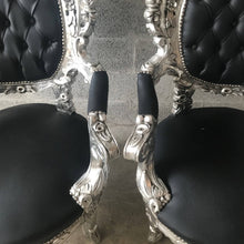 Load image into Gallery viewer, Silver Tufted Chair Antique Italian Rococo Furniture Throne Chairs *2 Piece Avail Throne Black Leather Chair Nail Heads Baroque French Chair