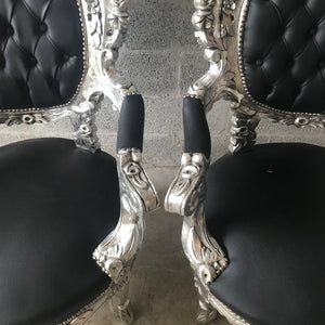 Silver Tufted Chair Antique Italian Rococo Furniture Throne Chairs *2 Piece Avail Throne Black Leather Chair Nail Heads Baroque French Chair