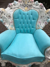 Load image into Gallery viewer, Venetian Throne Chair Antique Furniture Baby Blue Velvet Tufted Chair *2 Chairs Available* French Chair Louis XVI French Furniture Baroque