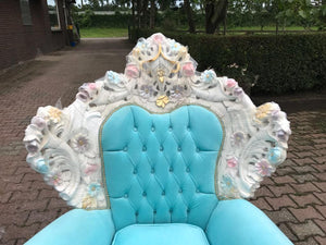 Venetian Throne Chair Antique Furniture Baby Blue Velvet Tufted Chair *2 Chairs Available* French Chair Louis XVI French Furniture Baroque