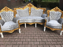 Load image into Gallery viewer, Rococo Throne Chair Antique Furniture Silver Gray Velvet Tufted Chair *3 Piece Set Avail* Gold Leaf French Chair Louis XVI French Furniture