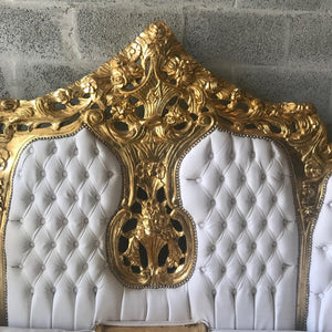 Rococo Throne Chair Antique Furniture White Leather Tufted Chair *3 Piece Set Avail* Gold Leaf French Chair Louis XVI French Furniture