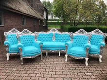 Load image into Gallery viewer, BaroqueThrone Furniture Bergere Chair Baby Blue *5 Piece Avail Silver Leaf Gild French Chair Louis XVI French Furniture Antique Chair Tufted