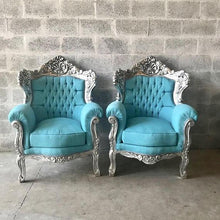 Load image into Gallery viewer, BaroqueThrone Furniture Bergere Chair Baby Blue *3 Piece Set* Silver Leaf Gild French Chair Louis XVI French Furniture Antique Chair Tufted