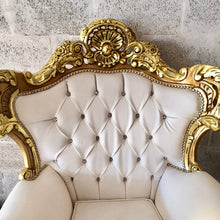 Load image into Gallery viewer, Rococo Furniture Settee Chair Antique Italian Throne *4 chairs Available* Bergere Sofa Gold Leaf White Leather Tufted Chair Baroque Louis X
