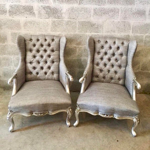 French Silver Chair Antique Furniture French Louis XVI Easy-Chairs Bergere Fauteuil Wingback Chair Tufted Chair Baroque Furniture Rococo