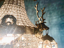 "Load image into Gallery viewer, Pair of Deer Stag Chandelier *Set of 2* Extra X-LARGE French Stag Deer Head JUMBO Basket Brass Empire Bowl 35""H x 29""W Interior Design"