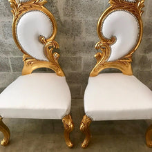 Load image into Gallery viewer, Italian Baroque Throne Chair High Back Reproduction White Leather French Furniture French Chair Rococo Furniture Interior Design