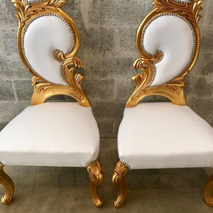 Italian Baroque Throne Chair High Back Reproduction White Leather French Furniture French Chair Rococo Furniture Interior Design