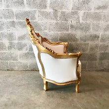 Load image into Gallery viewer, Italian Antique Furniture Throne Chair Rococo Tufted Chair *1 Chairs Left* Tufted Chair White Leather w/Nail Heads Baroque