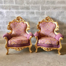 Load image into Gallery viewer, Rococo Furniture Bergere Chair Antique Italian Throne *2 Chairs Avail* Gold Leaf Purple Lavender Damask Baroque Furniture Rococo Louis XVI