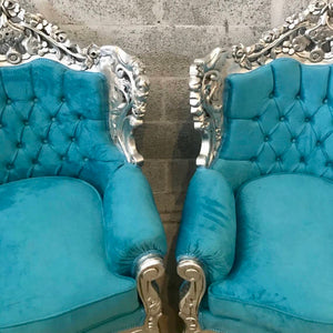 Italian Baroque Style Silver Leaf Throne Chair *3 Piece Avail* Reupholster in Teal Blue Suede Tufted Back French Chair Baroque Furniture