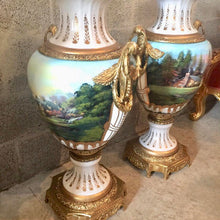 "Load image into Gallery viewer, French Porcelain Vase with Gilt Bronze Scroll Handles Baroque Rococo French Gild Bronze Urn Large 36.5""H x 17""W Hand Painted Vase"