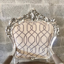 Load image into Gallery viewer, Antique Chair Silver Leaf Italian Baroque Furniture Rococo Interior Design Upholstery French Chair Antique Wingback Chair Rococo Furniture