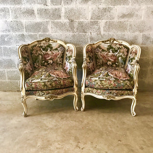 French Chair Romeo Juliet Upholstery Fabric Bergere Cream Beige Frame Rococo Furniture Baroque Chair French Louis XVI Chair *2 Chairs Avail*