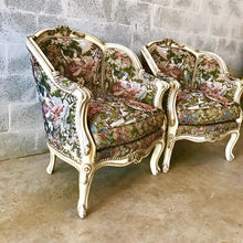 Load image into Gallery viewer, French Chair Romeo Juliet Upholstery Fabric Bergere Cream Beige Frame Rococo Furniture Baroque Chair French Louis XVI Chair *2 Chairs Avail*