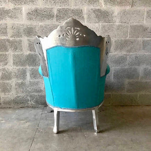 BaroqueThrone Furniture Bergere Chair Baby Blue *5 Piece Avail Silver Leaf Gild French Chair Louis XVI French Furniture Antique Chair Tufted