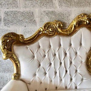 Rococo Furniture Settee Chair Antique Italian Throne *4 chairs Available* Bergere Sofa Gold Leaf White Leather Tufted Chair Baroque Louis X