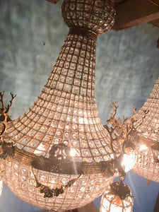 "Pair of Deer Stag Chandelier *Set of 2* Extra X-LARGE French Stag Deer Head JUMBO Basket Brass Empire Bowl 35""H x 29""W Interior Design"