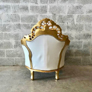 Italian Antique Furniture Throne Chair Rococo Tufted Chair *1 Chairs Left* Tufted Chair White Leather w/Nail Heads Baroque