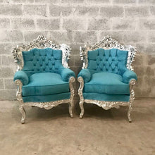 Load image into Gallery viewer, Italian Baroque Style Silver Leaf Throne Chair *3 Piece Avail* Reupholster in Teal Blue Suede Tufted Back French Chair Baroque Furniture