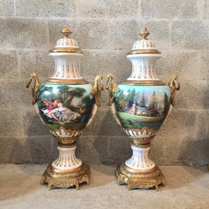 "French Porcelain Vase with Gilt Bronze Scroll Handles Baroque Rococo French Gild Bronze Urn Large 36.5""H x 17""W Hand Painted Vase"