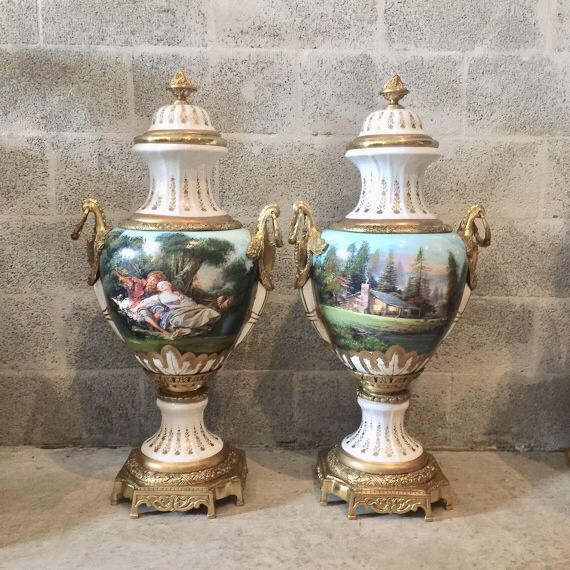 French Porcelain Vase with Gilt Bronze Scroll Handles Baroque Rococo French Gild Bronze Urn Large 36.5