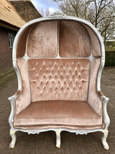 Load image into Gallery viewer, French Balloon Chair Throne Chair Reproduction Champagne Velvet Chair Bench Tufted Cream/White Frame French Furniture Rococo Interior Design