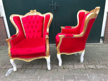 Load image into Gallery viewer, Italian Baroque Throne Chair Tufted Upholstery 2 Left Red Velvet French Furniture French Chair Rococo Furniture Interior Design Tufted Chair