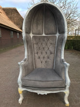 Load image into Gallery viewer, French Balloon Chair Throne Chair High-Back *1 Available* Reproduction Distressed White Tufted Grey French Furniture Rococo Interior Design
