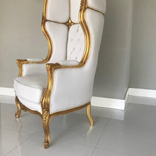 Load image into Gallery viewer, French Balloon Chair Throne Chair *2 Avail* High-Back Reproduction Gold Chair Tufted White Leather French Interior Design