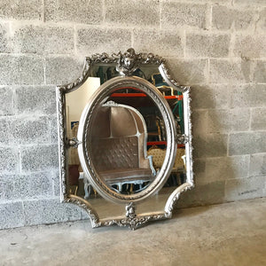 "French Mirror Cherub Mirror Antique 50.5""H x 39""W French Furniture Baroque Mirror Rococo SilverMirror Antique Mirror Silver Leaf Mirror"