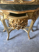 "Load image into Gallery viewer, French Console French Furniture Baroque Table 87""H x 36""W Rococo Console Marble Top Antique Mirror Gold Leaf Antique Furniture French Table"