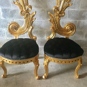 "Italian Baroque Throne Chair High Back Reproduction 65"" Tall Tufted Chair French Furniture French Chair Rococo Furniture Interior Design"