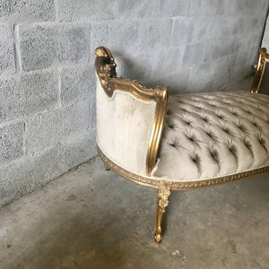 French Bench French Chair Furniture *2 Available Gray Velvet French Tufted Chair Gold Leaf New Padding tufted Fabric Interior Design