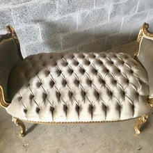 Load image into Gallery viewer, French Bench French Chair Furniture *2 Available Gray Velvet French Tufted Chair Gold Leaf New Padding tufted Fabric Interior Design