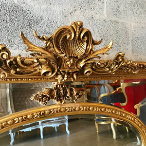 "French Mirror *2 Available* Antique 61""W x 44.5W French Furniture Baroque Mirror Rococo Gold Mirror Antique Mirror Gold Leaf Mirror Antique"