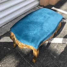 Load image into Gallery viewer, French Bench Teal Chair Rococo Bench Table Baroque Table French Furniture Teal Blue Table Antique Furniture Gold Table