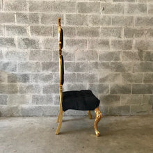 Load image into Gallery viewer, Italian Baroque Throne Chair High Back Reproduction Gold Black Tufted Chair Rental Events French Furniture French Chair Rococo Furniture