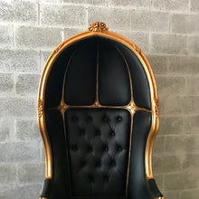 Load image into Gallery viewer, French Balloon Chair Throne Chair *1 Available* Reproduction Black Leather Chair Tufted Gold Frame French Rococo Interior Design