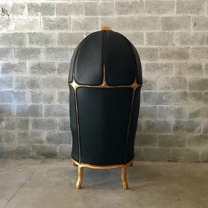 French Balloon Chair Throne Chair *1 Available* Reproduction Black Leather Chair Tufted Gold Frame French Rococo Interior Design