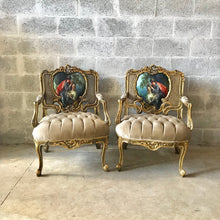 Load image into Gallery viewer, French Chair Louis XVI Furniture Tufted Velvet Gold Velvet French Tufted Settee Refinish Gold Leaf New Padding tufted Fabric Interior Design