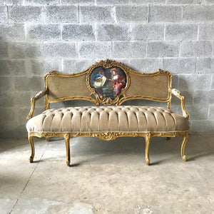 French Chair Louis XVI Furniture Tufted Velvet Gold Velvet French Tufted Settee Refinish Gold Leaf New Padding tufted Fabric Interior Design
