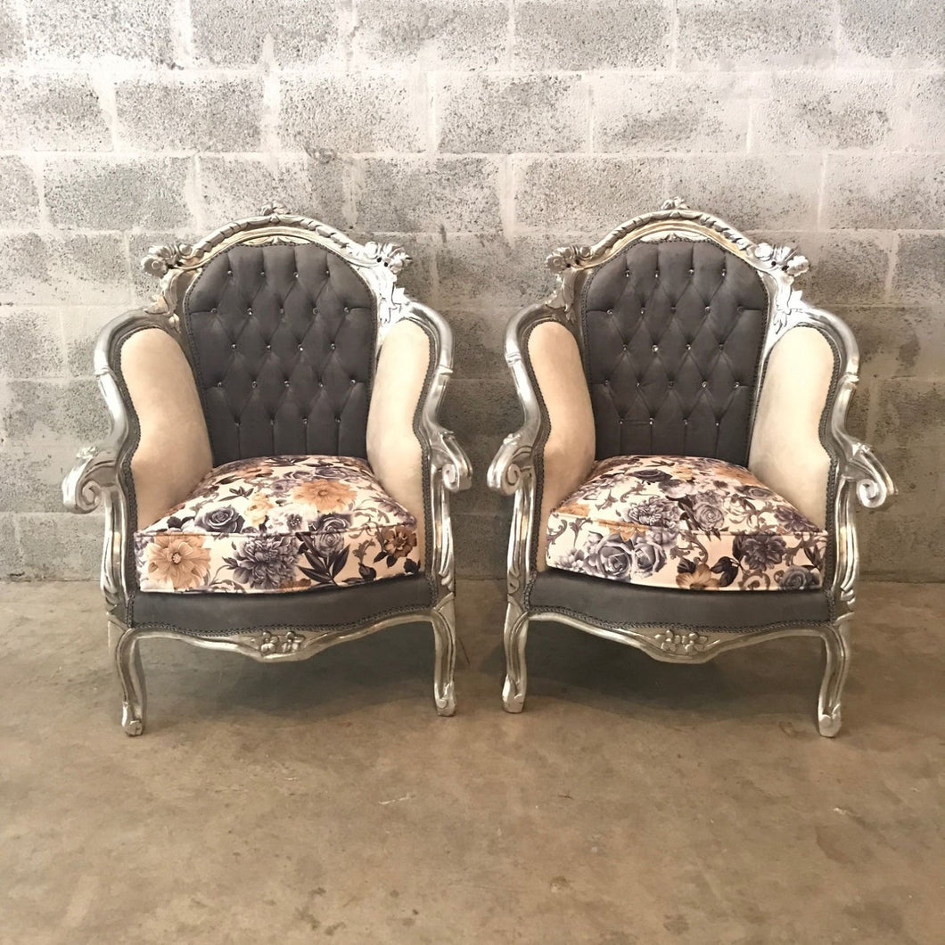 Italian Antique Furniture Silver Gray Chair Baroque Tufted Settee *5 Piece Set Avail* Tufted Chair Cream Beige Floral Suede Rococo Furniture