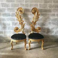"Load image into Gallery viewer, Italian Baroque Throne Chair High Back Reproduction 65"" Tall Tufted Chair French Furniture French Chair Rococo Furniture Interior Design"