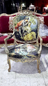 French Settee French Chair Louis XVI Furniture *3 Pieces Available* French New Padding Interior Design Antique Furniture French Sofa